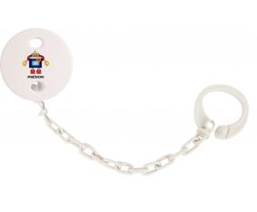 Attache-tétineJouet toys Robot avec prénom couleur Blanc