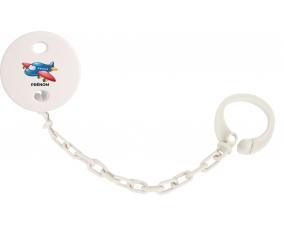 Attache-tétineJouet toys Avion design-1 avec prénom couleur Blanc