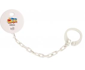 Attache-tétineJouet toys Train design-1 avec prénom couleur Blanc