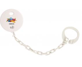 Attache-tétineJouet toys Avion design-3 avec prénom couleur Blanc
