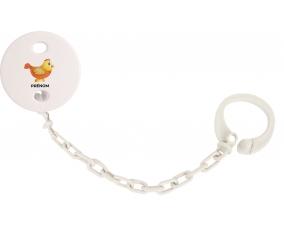 Attache-tétineJouet toys Poule avec prénom couleur Blanc