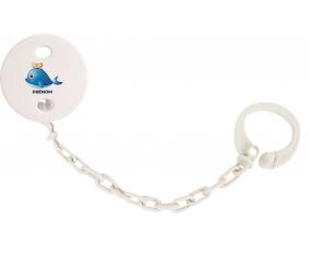 Attache-tétineJouet toys Dauphin avec prénom couleur Blanc