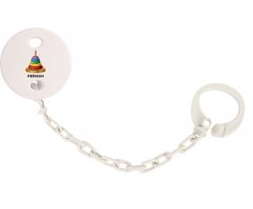 Attache-tétineJouet toys à empiler avec prénom couleur Blanc