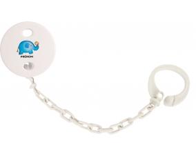 Attache-tétineJouet toys éléphant avec prénom couleur Blanc