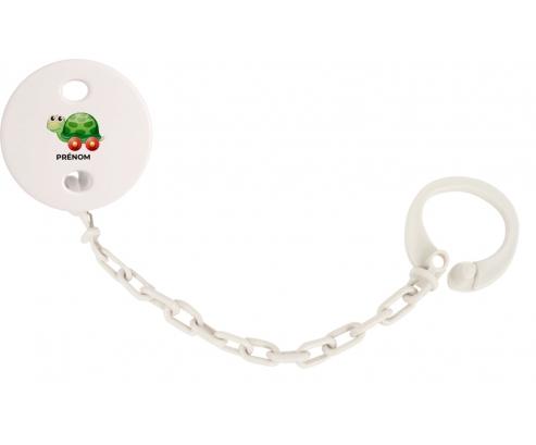 Attache-tétineJouet toys tortue avec roues avec prénom couleur Blanc
