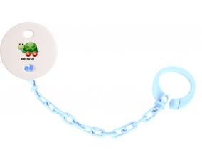 Attache-tétineJouet toys tortue avec roues avec prénom couleur Bleu ciel
