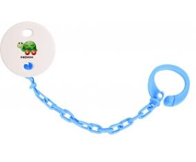 Attache-tétineJouet toys tortue avec roues avec prénom couleur Bleu turquoise