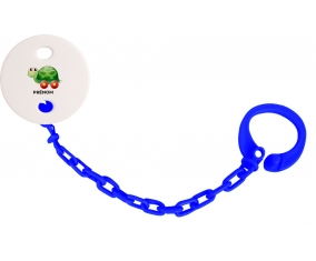 Attache-tétineJouet toys tortue avec roues avec prénom couleur Marine