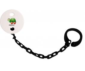 Attache-tétineJouet toys tortue avec roues avec prénom couleur Noire