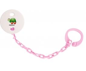 Attache-tétineJouet toys tortue avec roues avec prénom couleur Rose clair