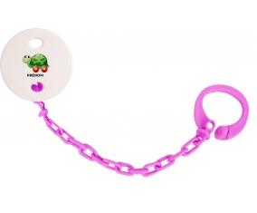 Attache-tétineJouet toys tortue avec roues avec prénom couleur Rose fuschia