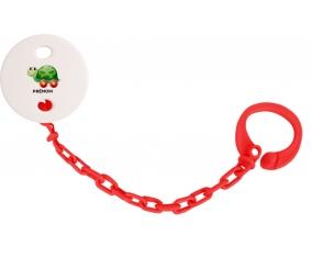 Attache-tétineJouet toys tortue avec roues avec prénom couleur Rouge
