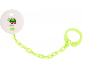 Attache-tétineJouet toys tortue avec roues avec prénom couleur Verte