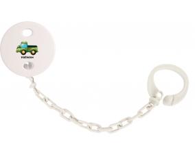 Attache-tétineJouet toys camionette verte avec prénom couleur Blanc