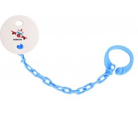 Attache-tétineJouet toys avion avec prénom couleur Bleu turquoise
