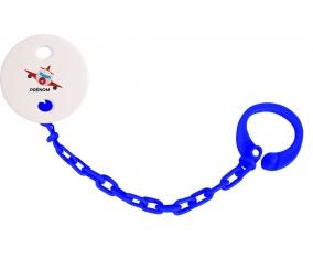 Attache-tétineJouet toys avion avec prénom couleur Marine