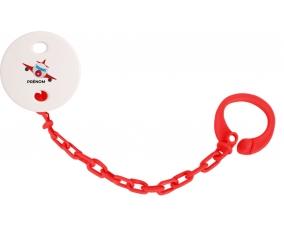 Attache-tétineJouet toys avion avec prénom couleur Rouge