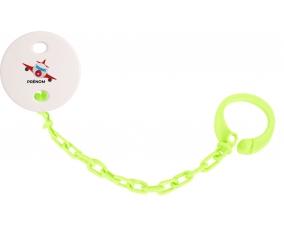 Attache-tétineJouet toys avion avec prénom couleur Verte