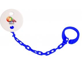 Attache-tétineJouet toys ballon masque et tong de plage avec prénom couleur Marine