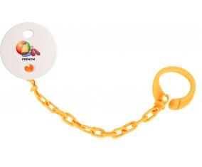 Attache-tétineJouet toys ballon masque et tong de plage avec prénom couleur Orange