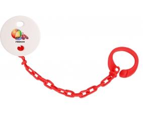 Attache-tétineJouet toys ballon masque et tong de plage avec prénom couleur Rouge