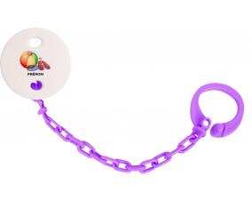 Attache-tétineJouet toys ballon masque et tong de plage avec prénom couleur Violet