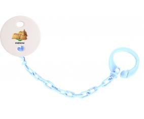 Attache-tétineJouet toys château de sable avec prénom couleur Bleu ciel