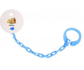 Attache-tétineJouet toys château de sable avec prénom couleur Bleu turquoise