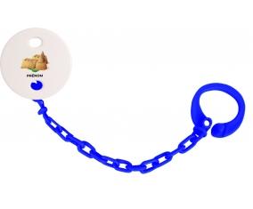 Attache-tétineJouet toys château de sable avec prénom couleur Marine