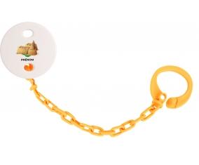 Attache-tétineJouet toys château de sable avec prénom couleur Orange