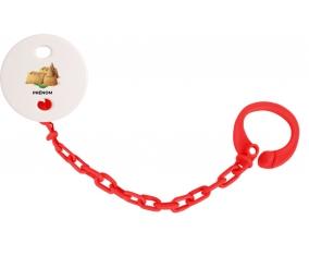 Attache-tétineJouet toys château de sable avec prénom couleur Rouge