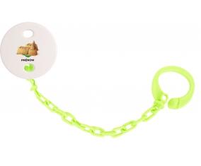 Attache-tétineJouet toys château de sable avec prénom couleur Verte