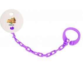 Attache-tétineJouet toys château de sable avec prénom couleur Violet