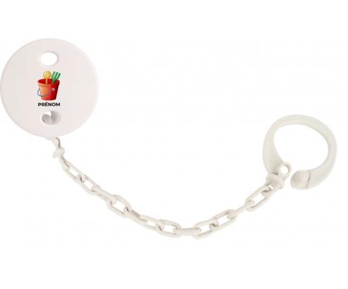 Attache-tétineJouet toys jouet de plage design-1 avec prénom couleur Blanc