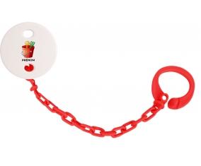 Attache-tétineJouet toys jouet de plage design-1 avec prénom couleur Rouge