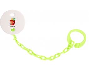 Attache-tétineJouet toys jouet de plage design-1 avec prénom couleur Verte