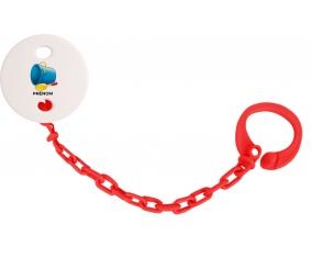 Attache-tétineJouet toys jouet de plage design-2 avec prénom couleur Rouge