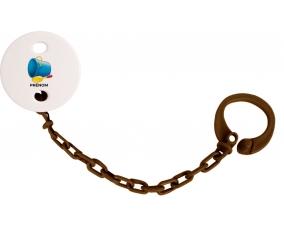 Attache-tétineJouet toys jouet de plage design-2 avec prénom couleur Marron