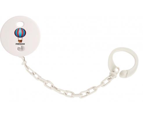 Attache-tétineJouet toys montgolfière avec prénom couleur Blanc