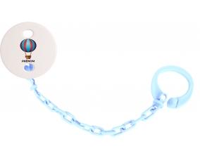 Attache-tétineJouet toys montgolfière avec prénom couleur Bleu ciel