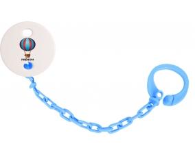 Attache-tétineJouet toys montgolfière avec prénom couleur Bleu turquoise
