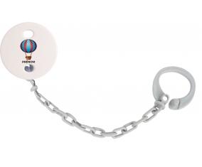 Attache-tétineJouet toys montgolfière avec prénom couleur Grise