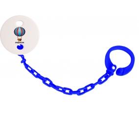 Attache-tétineJouet toys montgolfière avec prénom couleur Marine