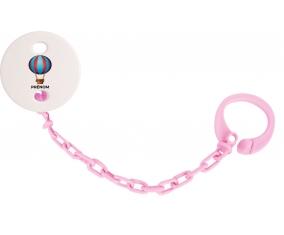 Attache-tétineJouet toys montgolfière avec prénom couleur Rose clair