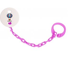 Attache-tétineJouet toys montgolfière avec prénom couleur Rose fuschia