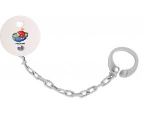 Attache-tétineJouet toys bateau design-4 avec prénom couleur Grise