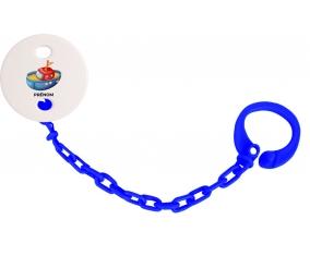 Attache-tétineJouet toys bateau design-4 avec prénom couleur Marine