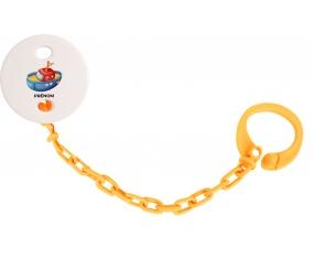 Attache-tétineJouet toys bateau design-4 avec prénom couleur Orange