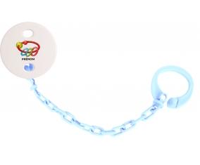 Attache-tétineJouet toys hochet avec prénom couleur Bleu ciel