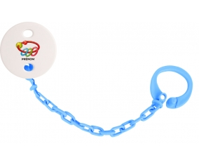 Attache-tétineJouet toys hochet avec prénom couleur Bleu turquoise